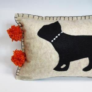 Beige Felt Pillow with Black French..