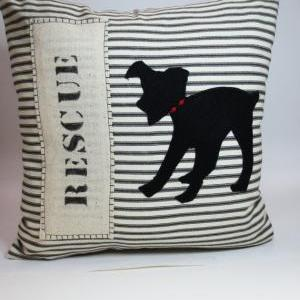 Rescue Dog Silhouette Pillow Cushio..