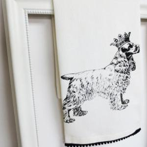 White kitchen towel or tea towel wi..