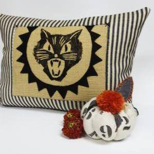 Block Print Spooky Cat Pillow