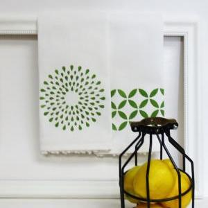 Pair of Printed Geometric Tea Towel..