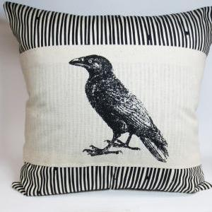 Pillow Cover with Raven or Crow Scr..