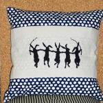 Decorative pillow cover with navy b..