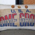 Burlap Sack Patch Kidney Pillow Cov..