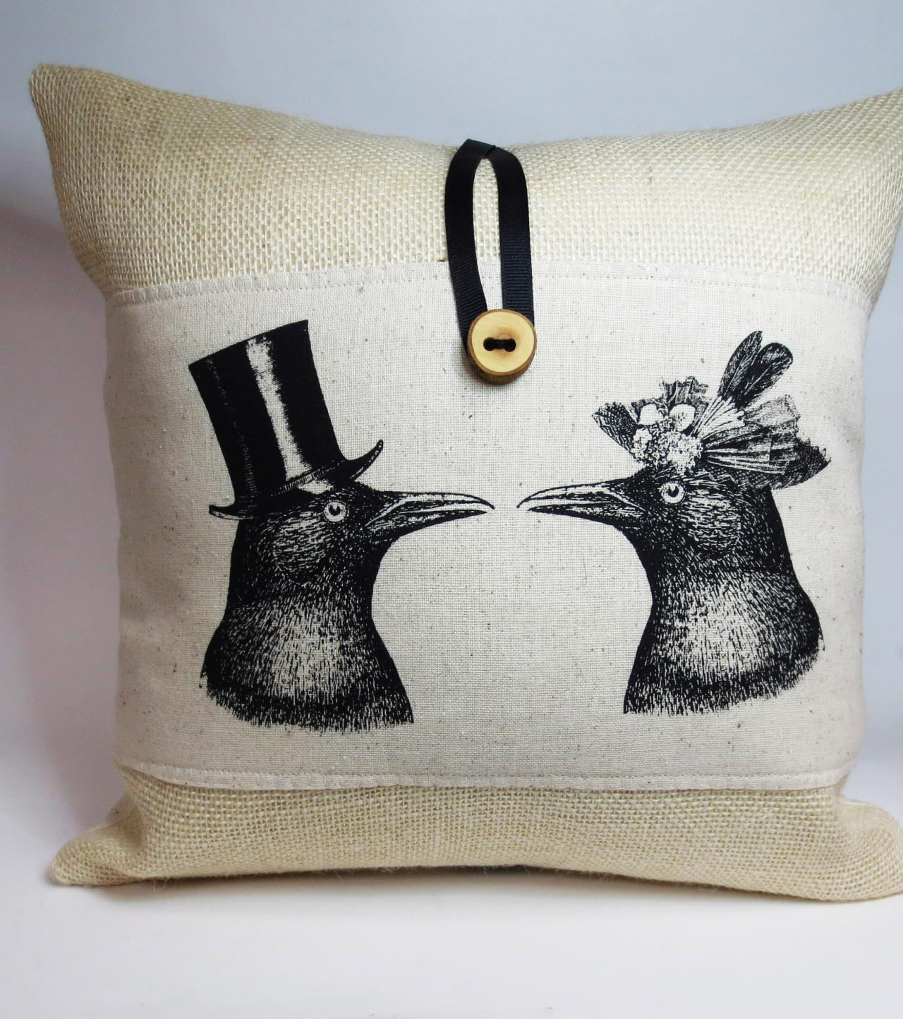 Burlap Pillow with Crow couple Screen Print