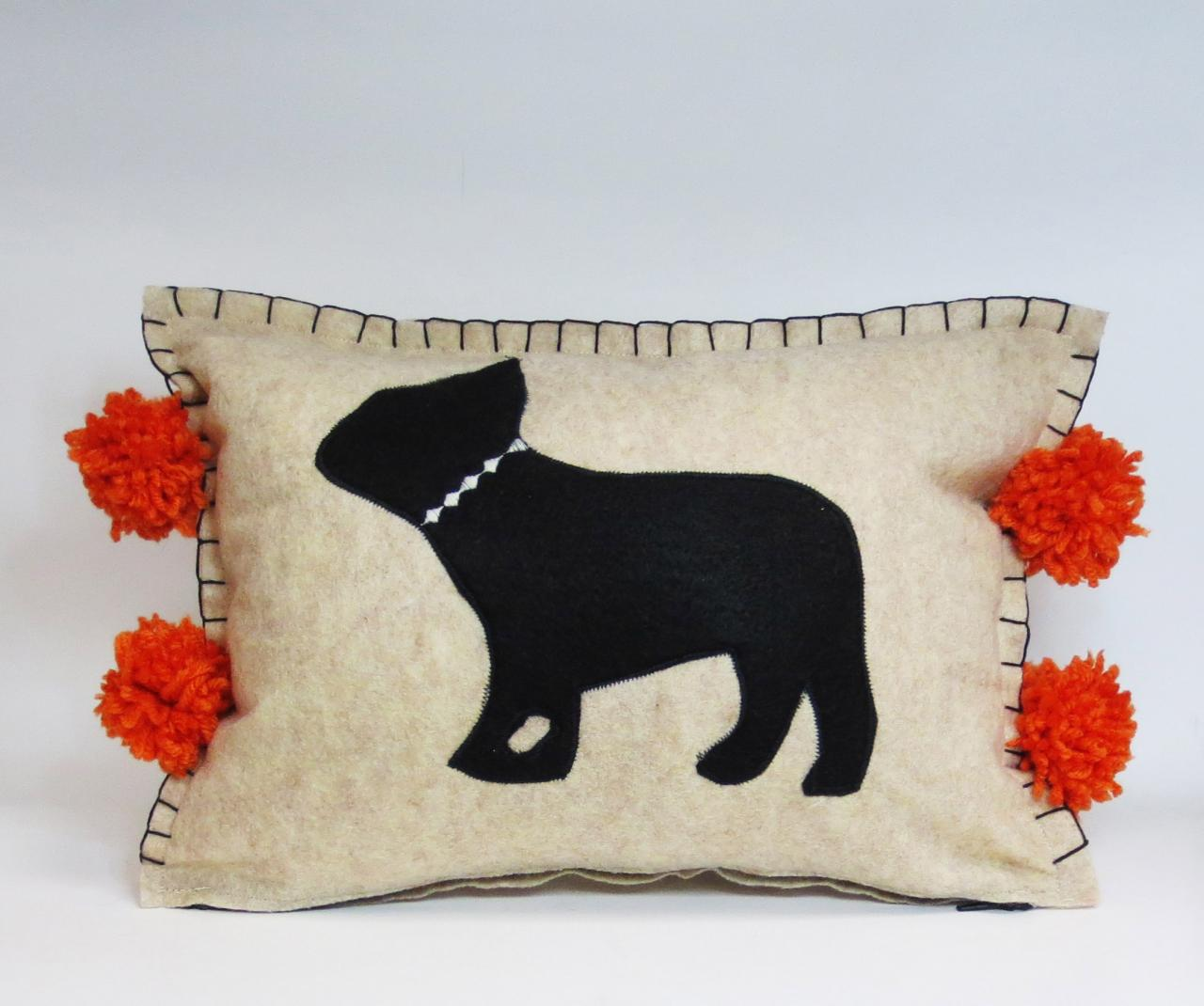 Beige Felt Pillow with Black Frenchie Silhouette and Pumpkin Orange Accents