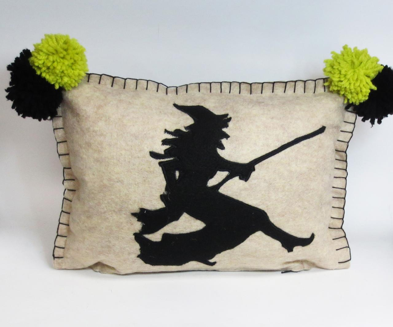 Beige Felt Silhouette Witch Pillow with Bright Green Accents