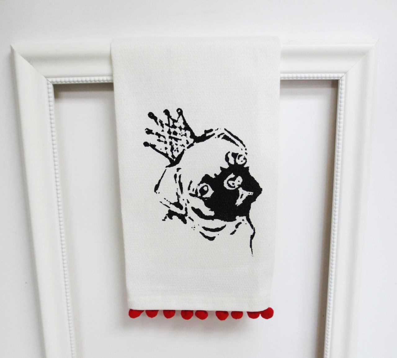 White Kitchen Towel Or Tea Towel With Pug Screen Print on Luulla