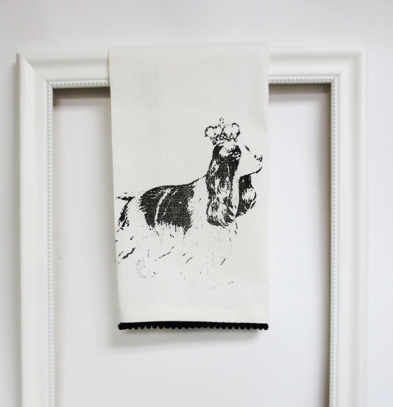 White kitchen towel or tea towel with springer spaniel screen print