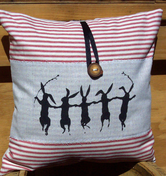 Decorative throw pillow cushion cover with screen print dancing rabbits and americana shabby chic theme