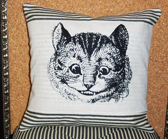 Decorative Throw Pillow Cushion Cover Chesire Cat Screen Print Alice in Wonderland