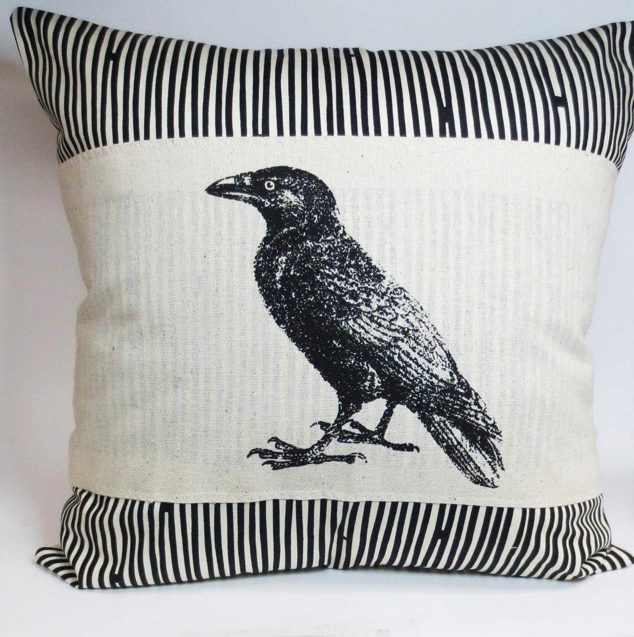 Pillow Cover with Raven or Crow Screen Print