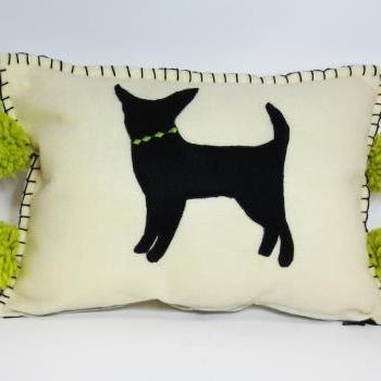 Ivory Felt Silhouette Chihuahua Pillow with Bright Green Accents