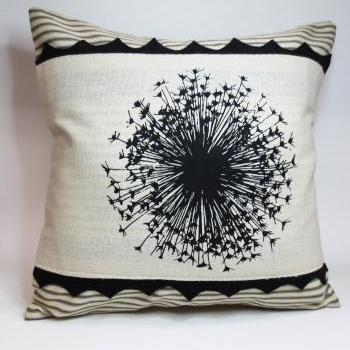 Pillow cover with Dandelion Screen Print