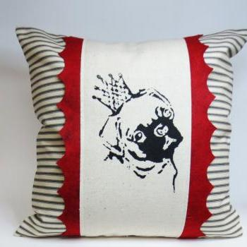 Decorative Throw Pillow Cushion Cover with Pug Screen Print and Red Hand Cut Felt Scallop Trim