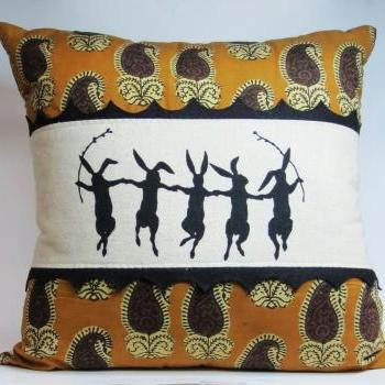 Decorative pillow cushion cover with paisley cotton and dancing rabbit screenprint