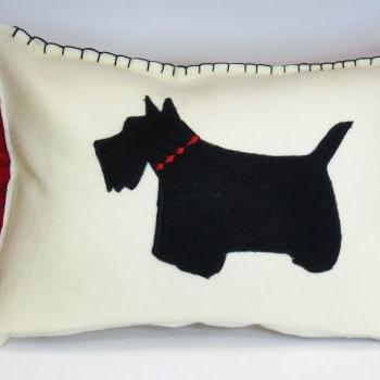 Ivory Felt Silhouette Scottie Scottish Terrier Pillow with Red Accents