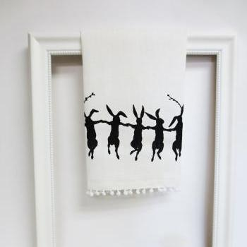 White kitchen towel or tea towel with dancing rabbit screen print
