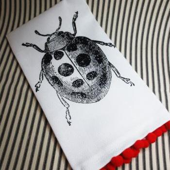 White kitchen towel or tea towel with Lady Bug screen print