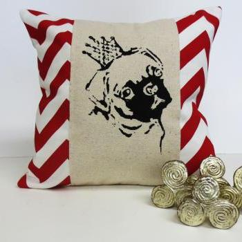Decorative Chevron Pillow with Pug Screen Print