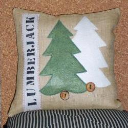 Decorative Throw Pillow Cover with Lumberjack and Evergreen Art Tree Applique in Felt Green Woodsy Folk Art Wood and Red Accents