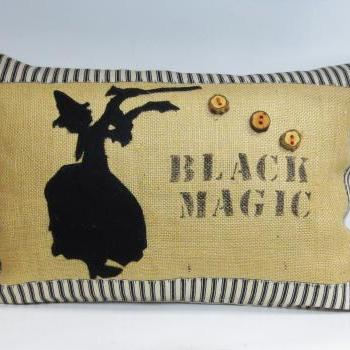 Decorative Kidney pillow cushion cover with black magic witch applique gothic and halloween inspired