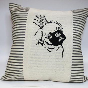 Decorative throw pillow cushion cover with black pug in a crown screen print in black